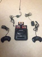 Sega Genesis With 2 Controllers And 3 Games