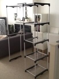 Rail with shelves