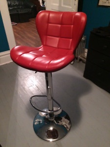 New Red Swivel Leather Adjustable Bar Stool