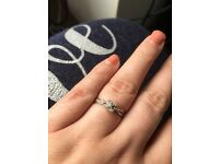 Engagement ring size p white gold with diamond