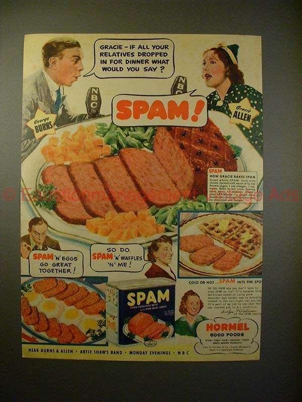 1940 SPAM Ad w/ George Burns & Gracie Allen - Relatives