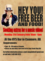 Extras needed for music video in Canmore