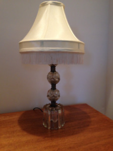 ANTIQUE DEPRESSION GLASS Table Lamp With VINTAGE SATIN Lampshade