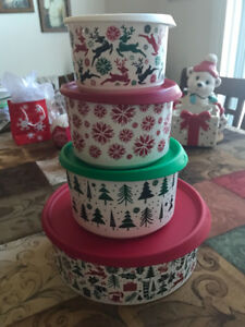 Brand New 4pc Set of Tupperware Christmas Canisters