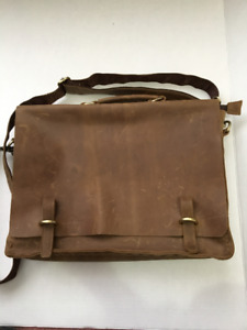 Men's Soft Sided Distressed Leather Satchel Briefcase
