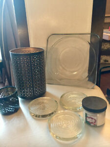 Glass and Metal Candle holders/coasters + free candle