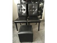 FOR SALE FAUX LEATHER CHAIRS & FOOTSTOOL