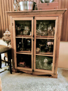 Antique Solid Pine Tall Hutch with vintage wrought iron closure