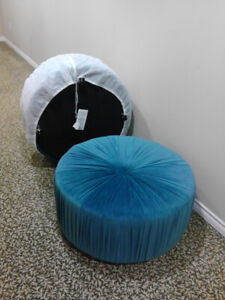 Gorgeous Brand New Large Ottomans w/ Teal Velvet Fabric