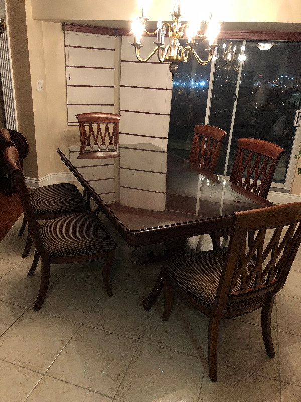 Hardwood Dining Room Set Table 6 Chairs