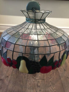 STAINED GLASS WITH FRUIT CEILING LIGHT FIXTURE