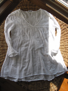 Blouse chemisier BLANC translucide TOP shirt PROMOD FRANCE