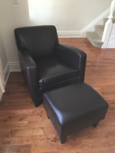 Ikea Jappling Leather Club Chair and footstool
