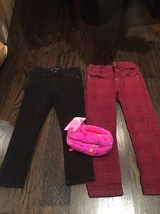 Girls size 4 - 3 pairs pants / jeans plus slippers