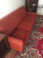 Vintage Retro Pullout Couch with Matching Armchair