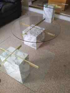 Marble Base Glass Top Coffee and End Tables Kitchener / Waterloo Kitchener Area image 8