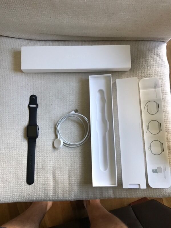 Apple Watch 38mm space grey aluminiumin Broughty Ferry, DundeeGumtree - Apple Watch 38mm space grey aluminium, sport band black. In great condition not worn much. No scratches on screen, in full working oder