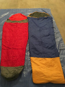 2 Synthetic Sleeping Bags: The Northface & Woods.