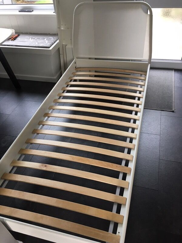 ikea duken single bed white metal frame with mattress - Duken Bed Frame