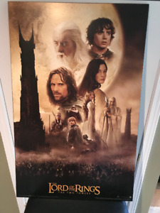 22 x 34 Lord of the Rings The Two Towers Movie Poster on Plaque