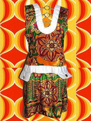 102✪ Twiggy Hippie Kostüm Prilblumen Minikleid 60er 70er Jahre FlowerPower - Twiggy Kostüm
