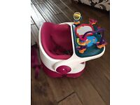 Mamas and Papas Bud Booster Seat in Raspberry with Activity Tray