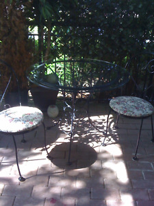 Iron Bistro Glass Table & Chairs