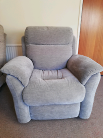Electric reclining armchair with USB charger,silver fabric,ex display