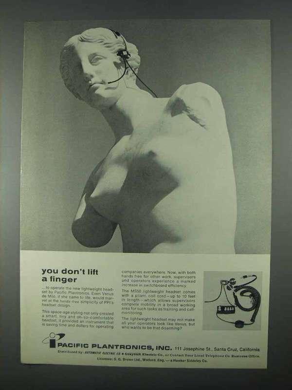 1967 Pacific Plantronics MS50 Lightweight Headset Ad