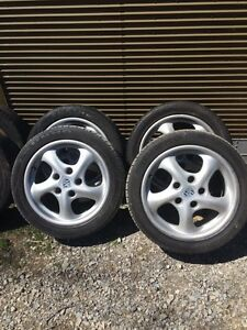 "OEM 17"" Porsche Twist rims and tires"