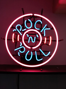 "Rock n Roll neon sign 3 colours 18"" dia."