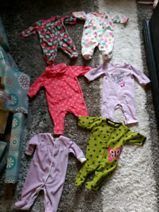 Six Pairs of Size 3 Months Warm Baby Sleepers - Excellent Condit