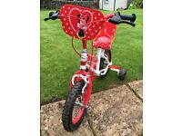 """Minnie Mouse bike 12"""" with stabilisers"""