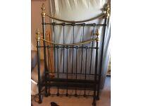 Iron frame single bed & mattress