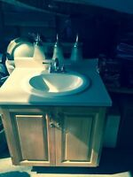 Bathroom vanity, sink, hardware, faucet, plus lights $100 OBO