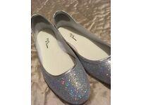 Silver glitter flats