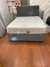 4. Grey fabric divan bed with orthopedic mattress