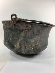 Primitive and Authentic Rare Hand Forged Copper Cauldron