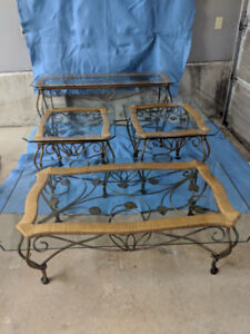 Wrought Iron & glass, 4-piece coffee table set