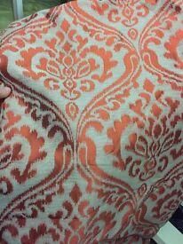 Orange and beige curtains