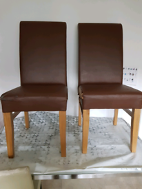 2x high back dining chairs brown