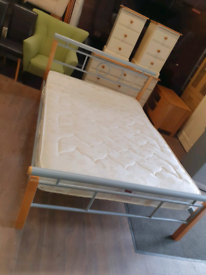 32. Beech and chrome double bed