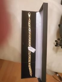 Mens 9ct gold wrist bracelet 9inch