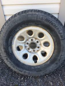 """17"""" steel GM truck rims with tires"""