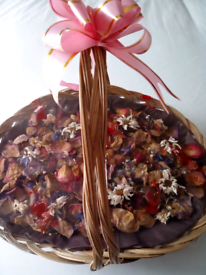 Large Wicker Basket of Natural Dried Flowers Can be viewed on doorstep