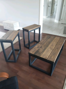 Solid wood coffee table and matching sides