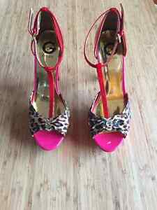 red-pink-leopard GUESS high heels