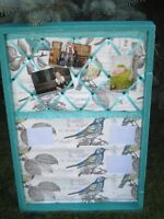 Memory/Mail Board. Repurposed old wooden trunk lid