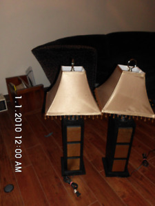 ESPRESSO AND GOLD LAMPS