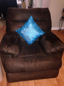 Suede Couch set with free tables and portrait London Ontario image 3